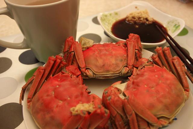 蟹、醋、薑茶、三者齊備
