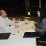 A student interviewing with a recruiter --