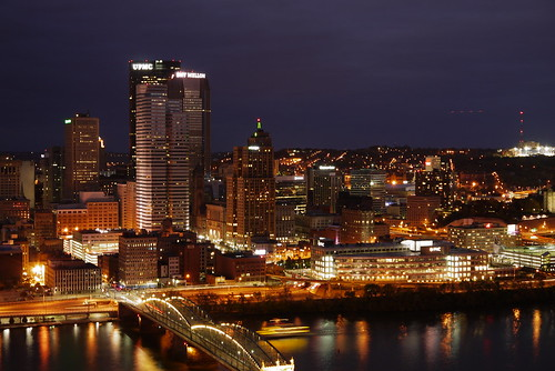 Pittsburgh city landscape at night