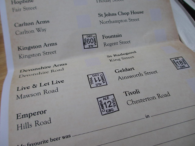Stamps on the Cambridge CAMRA Ale Trail
