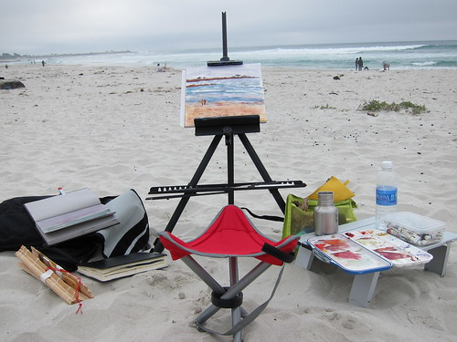 My setup at Asilomar State Beach, Pacific Grove, California
