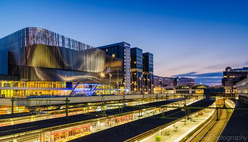 sunset station architecture modern train dawn long exposure waterfront sweden stockholm center congress centralen