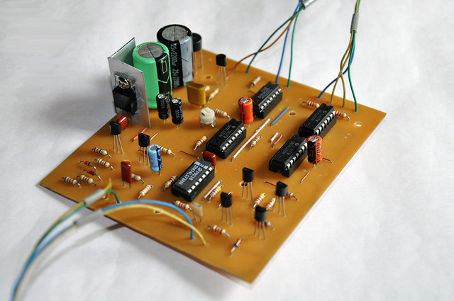 PCB of modified Heathkit HD-1410 electronic keyer.