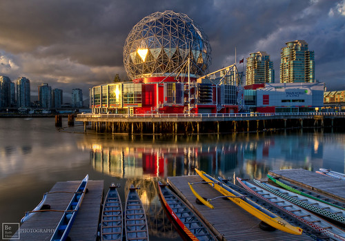 world sunset sunlight canada color reflection vancouver clouds canon boat downtown dof bc dynamic science 7d vancouverbc hdr highdynamicrange coalharbour sunray scienceworld britishcolombia 1635mm falscreek eflens telusscienceworld