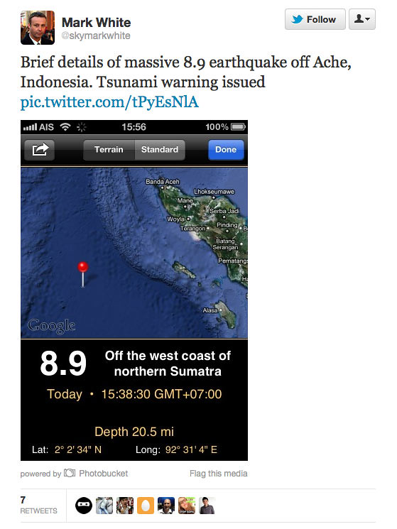 Massive 8.9 earthquake in Aceh. Tremors felt in Malaysia ...