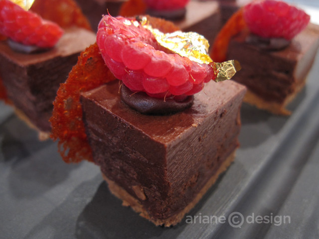 "Chocolate Raspberry ""Turron"": Crispy hazelnut, raspberry, 72% dark chocolate"