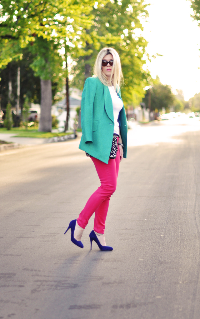 bright pink jeans - bright shoes- bright blazer