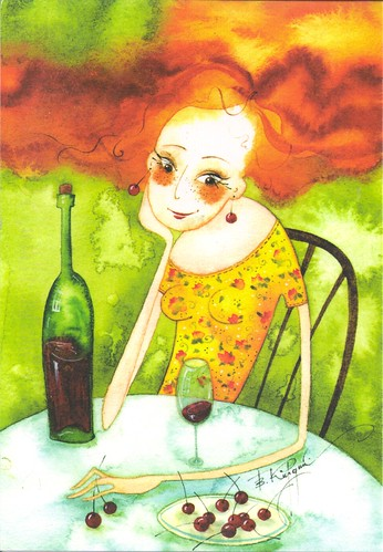 Viktoria Kirdy-Red Haired Lady & Wine