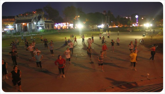 outdoor aerobics in vientiane
