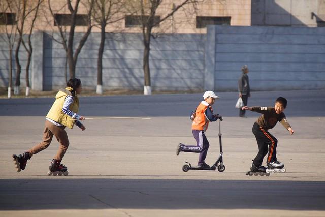 Pyongyang Rollerblading