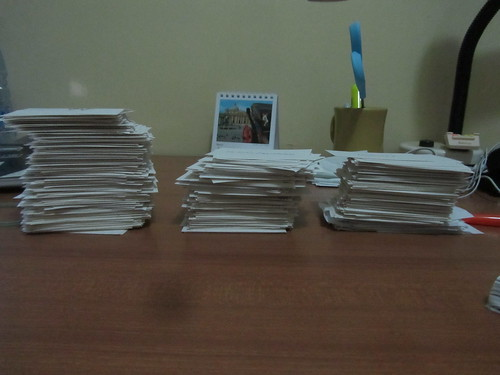 Stacks of vocab flash cards