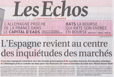 12c26 Les Echos Inquietud hacia España mercados internacionales