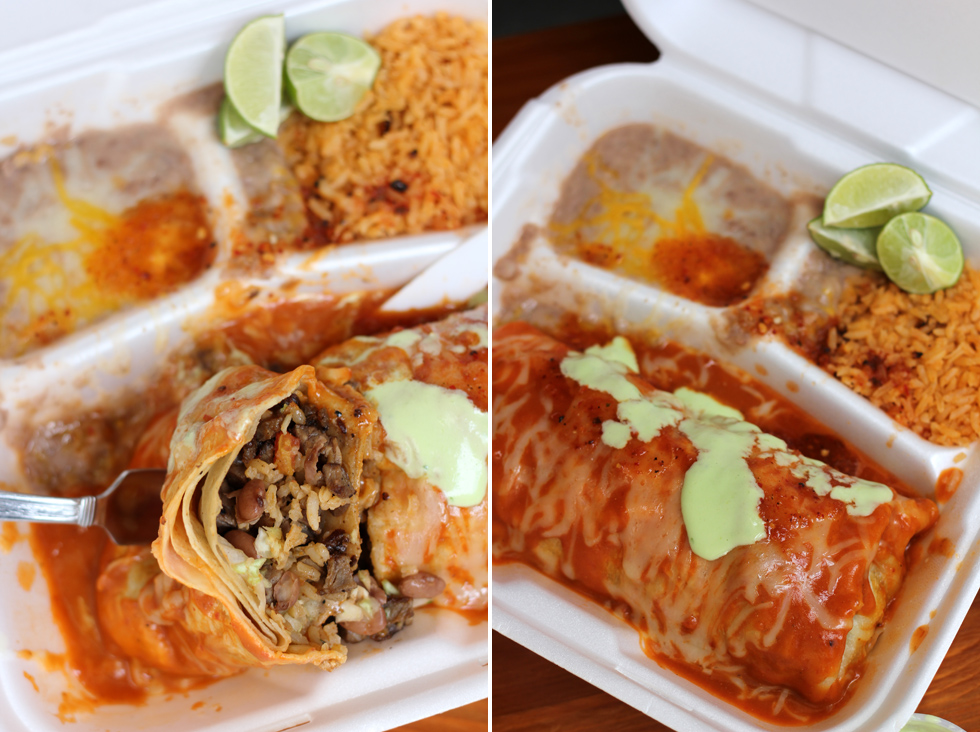 Carne Asada Burrito with Rice and Beans