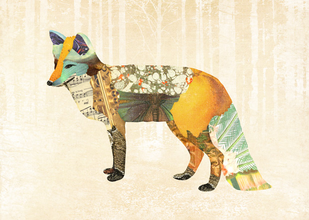 Gerren Lamson collage woodland creatures fox