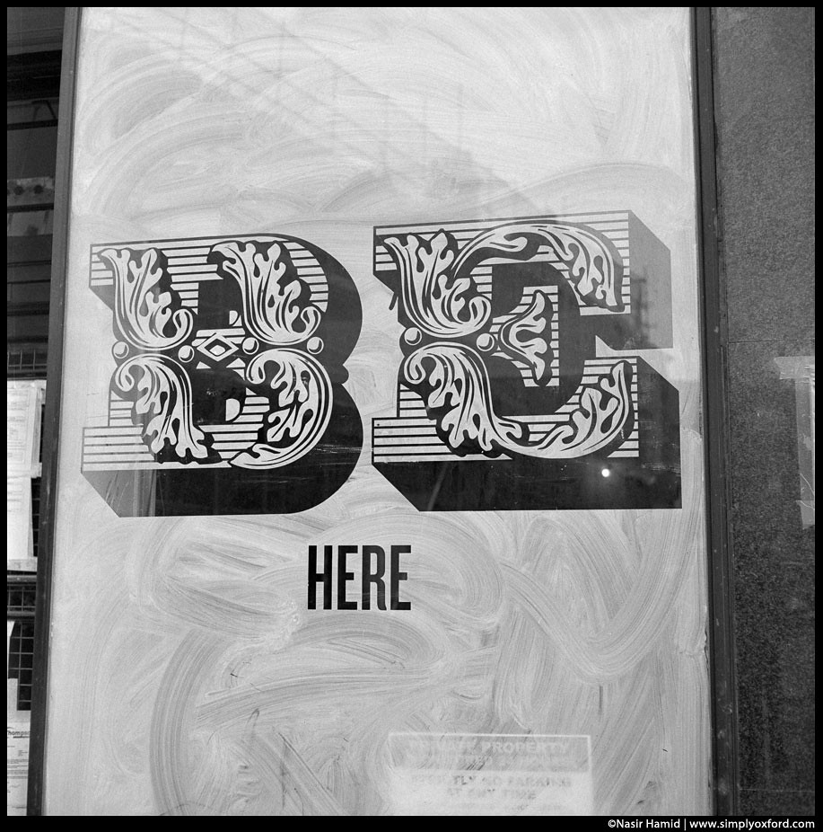 Be here typography in shop window