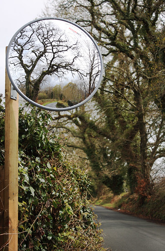 Safety mirror on a difficult bend
