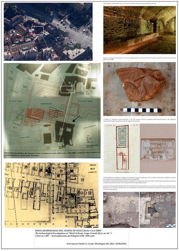 """ROMA ARCHEOLOGA: FORO E TEMPIO DELLA PACE [Ambiente A.1 (2009)]: Le indagini archeologiche presso """"Hotel de Rome, Largo Corrado Ricci, numero 36."""" = ex-CASA nn. CXV, 'Arciconfraternita dei Pellegrini,' (15 al 17 ° secolo) [06/2012]."""
