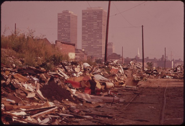 DOCUMERICA: View North From Swanson And Catherine Streets, August 1973 by Dick Swanson.