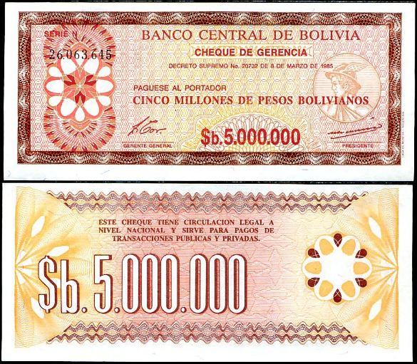 5 000 000 Pesos Bolivianos Bolívia 1985, Pick 193