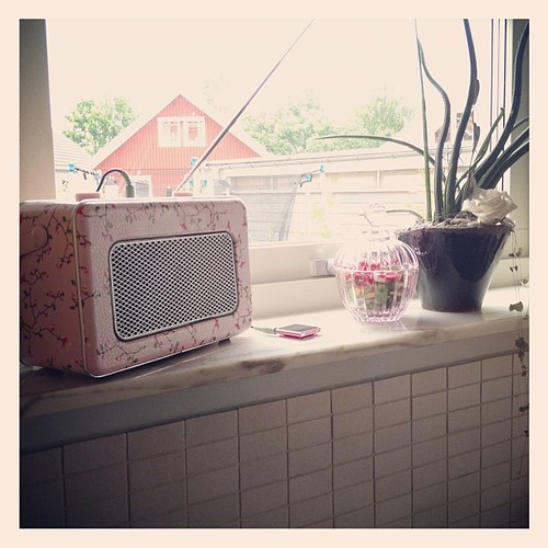 Cleaned up the kitchen window. Got a cute retro radio for the window too.