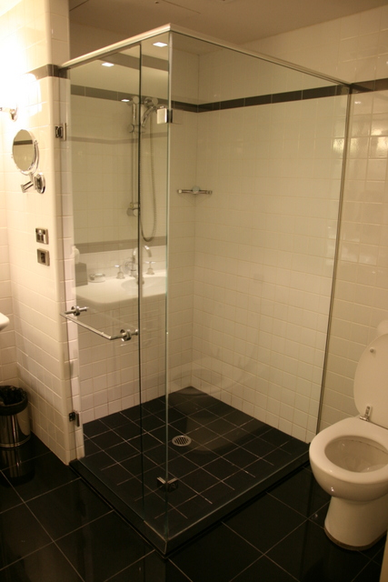 The shower stall is pretty roomy
