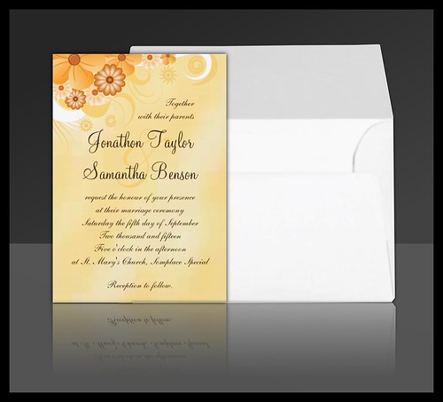 Ivory Gold Hibiscus Floral Wedding Invitation Suite