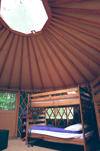 Inside our yurt.