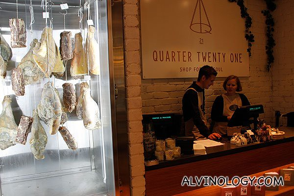 Freshly cut meat displayed at the entrance