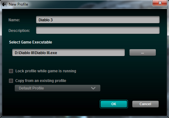 Logitech Gaming Software - Create A New Game Profile