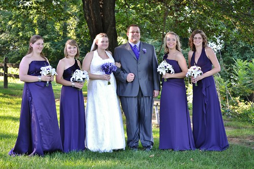 The happy couple with the bridesmaids