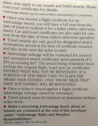 1990 American AIrlines AAdvantage membership guide. Claim Awards