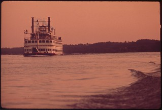 Paddlewheel Steamboat On The Ohio River, June 1972
