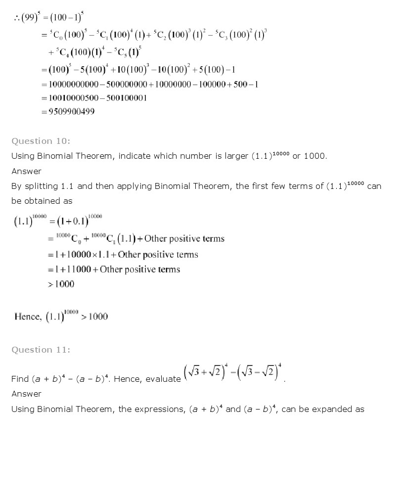 NCERT Solutions for Class 11th Maths Chapter 8 Binomial