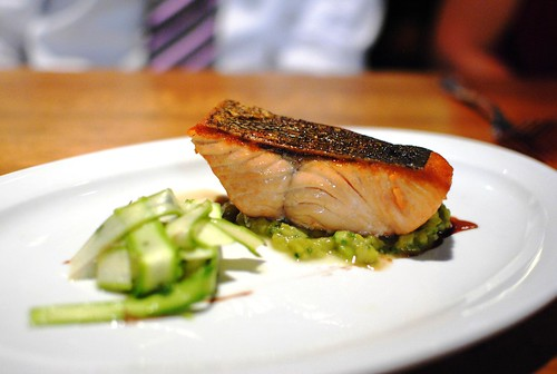 WILD MORROW BAY KING SALMON pan sauteed with asparagus chutney, raw asparagus salad