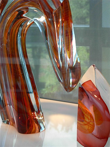 Red/Amber Sliced Descending Form by Harvey K. Littleton  1984  view 2