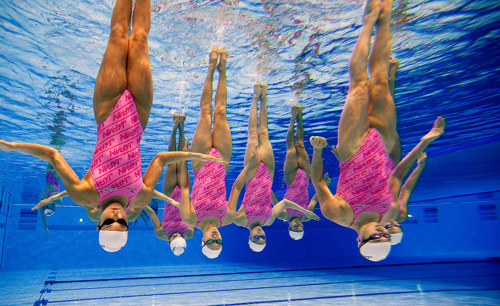 Olympics: Synchronized team swimming training