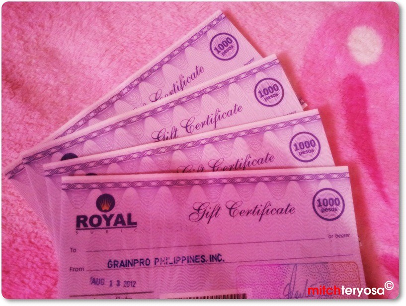 Royal Duty Free Gift Certificates