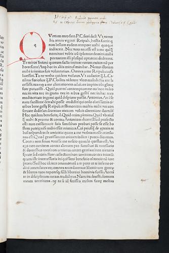 Marginal annotations in Cicero, Marcus Tullius: Orationes Philippicae
