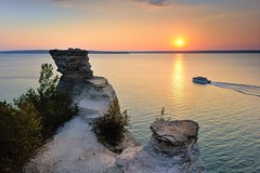 """Sunset Cruise"" Miners Castle Pictured Rocks National Lakeshore by Michigan Nut"