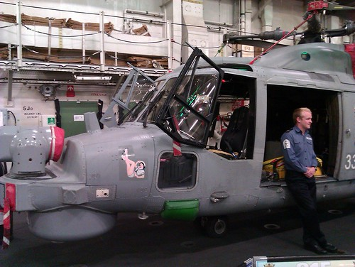 Lynx helicopter on the hangar deck