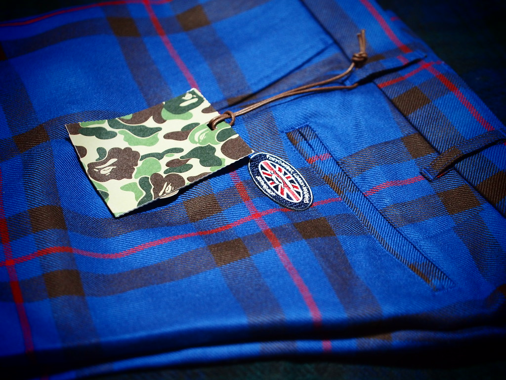 A BATHING APE | Tartan Check Trousers