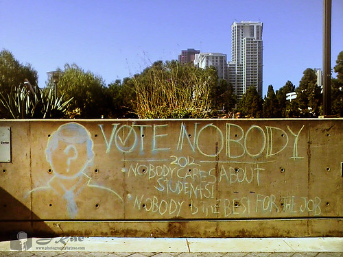 "San Diego City College - written in chalk on the wall - ""Vote Nobody"" Election 2012"