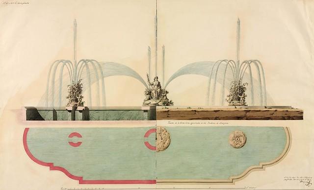 Media planta y alzado de la Fuente de Ceres (Isidro Velázquez)
