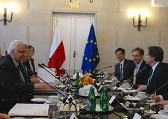 Deputy Secretary of State Antony 'Tony' Blinken, with U.S. Ambassador to Poland Paul Jones, meets with Polish Foreign Minister Witold Waszczykowski to discuss bilateral and regional issues, including this summer's NATO summit in Warsaw and the ongoing crisis in Ukraine, on May 5, 2016, in Warsaw, Poland. [State Department photo/ Public Domain]