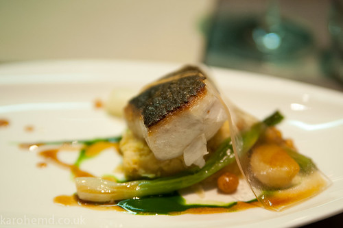 Roasted stone bass, spring onions, chick pea, watercress