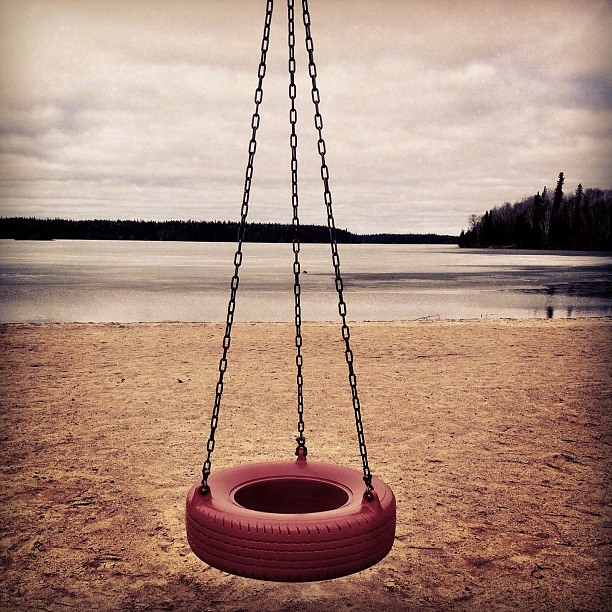 Red tire swing, snow lake mb