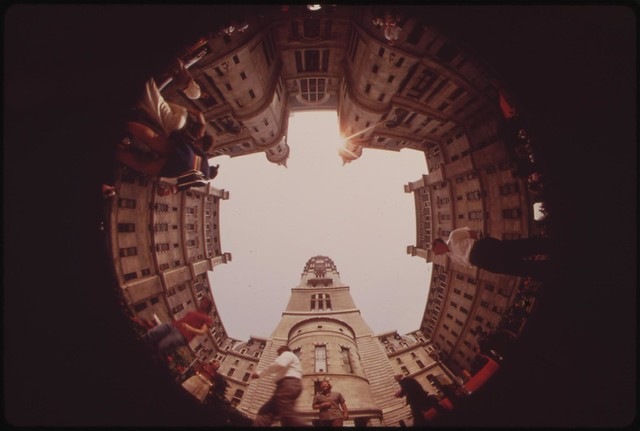 DOCUMERICA: Fisheye View From Center Courtyard Of City Hall, August 1973 by Dick Swanson.
