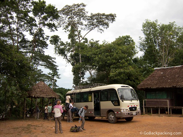Transferring from bus to boat for our journey up the Tambopata River