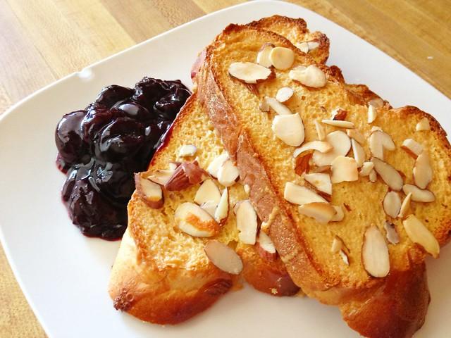 Sweet Almond Toast with Boozy Cherries