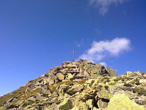 Der Gipfel der Mutspitze mit Gipfelkreuz